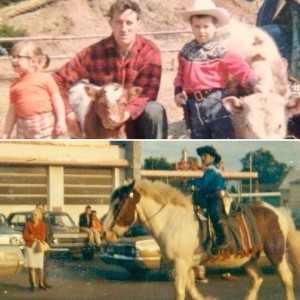 Top: Gilbert family on their farm with calves (Billy on the right). Bottom: Billy on his pony King riding in a parade.